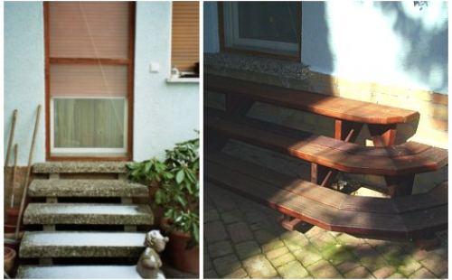 Treppe im Garten vor und nach dem Feng Shui Projekt